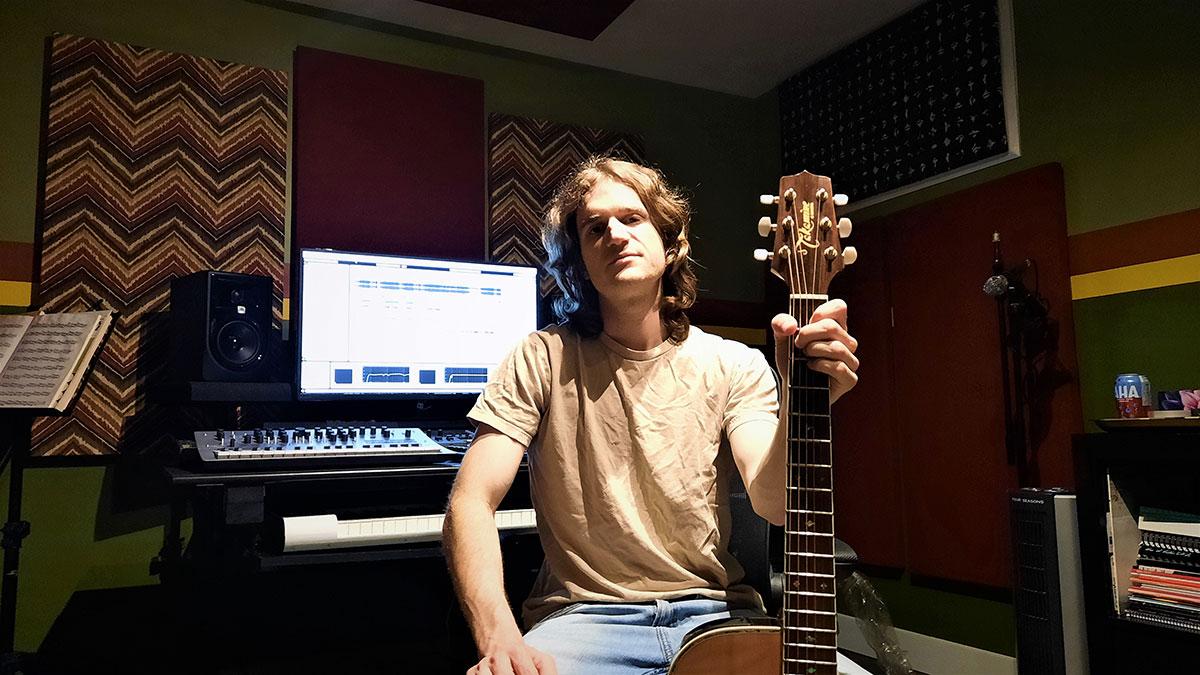 Ben Sinclair in his Music Production Studio