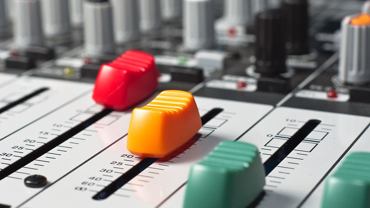 colorful mixing console knobs